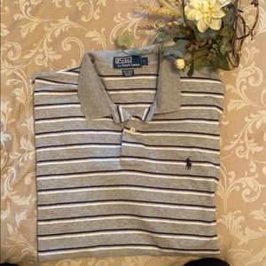 Ralph Lauren Grey with Blue and White Stripe Polo